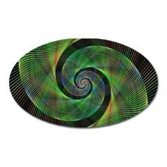 Green Spiral Fractal Wired Oval Magnet