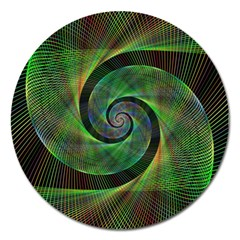 Green Spiral Fractal Wired Magnet 5  (round)
