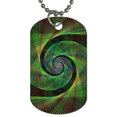 Green Spiral Fractal Wired Dog Tag (one Side)