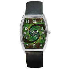 Green Spiral Fractal Wired Barrel Style Metal Watch