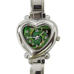 Green Spiral Fractal Wired Heart Italian Charm Watch