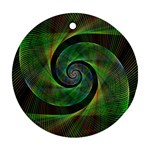 Green Spiral Fractal Wired Round Ornament (Two Sides) Front