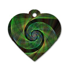 Green Spiral Fractal Wired Dog Tag Heart (one Side)