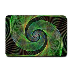 Green Spiral Fractal Wired Small Doormat  by Nexatart
