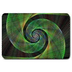 Green Spiral Fractal Wired Large Doormat