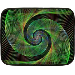 Green Spiral Fractal Wired Double Sided Fleece Blanket (mini)