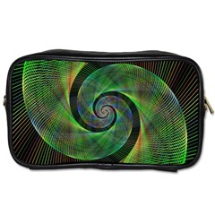Green Spiral Fractal Wired Toiletries Bags 2 Side
