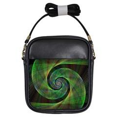Green Spiral Fractal Wired Girls Sling Bags by Nexatart
