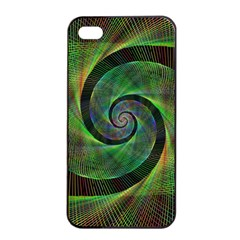 Green Spiral Fractal Wired Apple Iphone 4/4s Seamless Case (black) by Nexatart