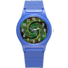 Green Spiral Fractal Wired Round Plastic Sport Watch (s) by Nexatart