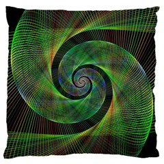 Green Spiral Fractal Wired Large Cushion Case (one Side) by Nexatart