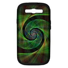 Green Spiral Fractal Wired Samsung Galaxy S Iii Hardshell Case (pc+silicone)