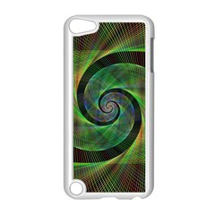 Green Spiral Fractal Wired Apple Ipod Touch 5 Case (white)