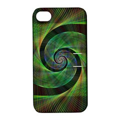 Green Spiral Fractal Wired Apple Iphone 4/4s Hardshell Case With Stand by Nexatart