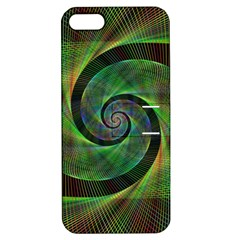 Green Spiral Fractal Wired Apple Iphone 5 Hardshell Case With Stand