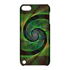 Green Spiral Fractal Wired Apple Ipod Touch 5 Hardshell Case With Stand by Nexatart