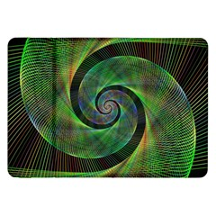 Green Spiral Fractal Wired Samsung Galaxy Tab 8 9  P7300 Flip Case by Nexatart
