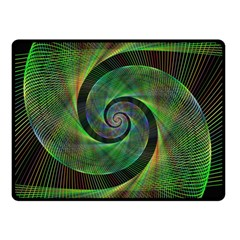 Green Spiral Fractal Wired Double Sided Fleece Blanket (small)  by Nexatart