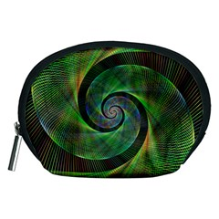 Green Spiral Fractal Wired Accessory Pouches (medium)  by Nexatart