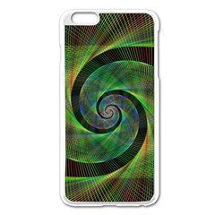 Green Spiral Fractal Wired Apple Iphone 6 Plus/6s Plus Enamel White Case