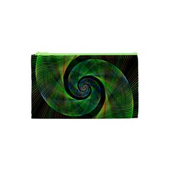 Green Spiral Fractal Wired Cosmetic Bag (xs)