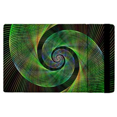 Green Spiral Fractal Wired Apple Ipad Pro 12 9   Flip Case by Nexatart