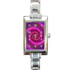 Pink Background Neon Neon Light Rectangle Italian Charm Watch
