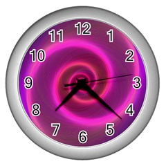 Pink Background Neon Neon Light Wall Clocks (silver)