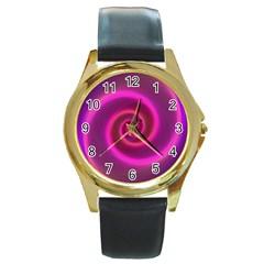 Pink Background Neon Neon Light Round Gold Metal Watch