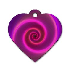Pink Background Neon Neon Light Dog Tag Heart (two Sides)