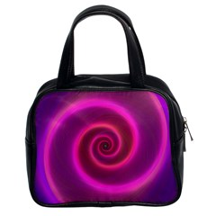 Pink Background Neon Neon Light Classic Handbags (2 Sides)