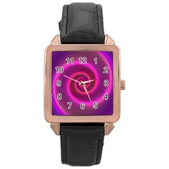 Pink Background Neon Neon Light Rose Gold Leather Watch  by Nexatart