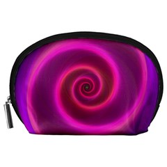 Pink Background Neon Neon Light Accessory Pouches (large)