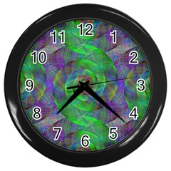 Fractal Spiral Swirl Pattern Wall Clocks (black) by Nexatart