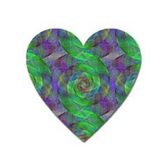 Fractal Spiral Swirl Pattern Heart Magnet by Nexatart