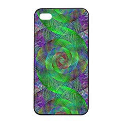 Fractal Spiral Swirl Pattern Apple Iphone 4/4s Seamless Case (black) by Nexatart