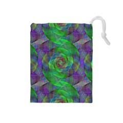 Fractal Spiral Swirl Pattern Drawstring Pouches (medium)