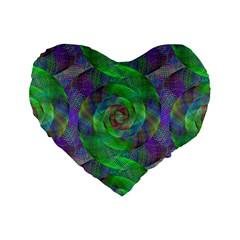 Fractal Spiral Swirl Pattern Standard 16  Premium Flano Heart Shape Cushions