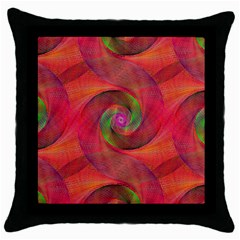 Red Spiral Swirl Pattern Seamless Throw Pillow Case (black)