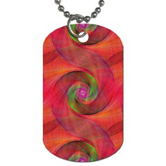 Red Spiral Swirl Pattern Seamless Dog Tag (one Side) by Nexatart