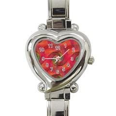 Red Spiral Swirl Pattern Seamless Heart Italian Charm Watch