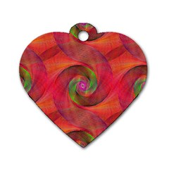 Red Spiral Swirl Pattern Seamless Dog Tag Heart (two Sides)