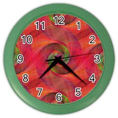 Red Spiral Swirl Pattern Seamless Color Wall Clocks by Nexatart