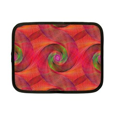 Red Spiral Swirl Pattern Seamless Netbook Case (small)