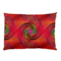 Red Spiral Swirl Pattern Seamless Pillow Case by Nexatart