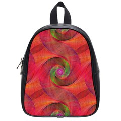 Red Spiral Swirl Pattern Seamless School Bag (small)