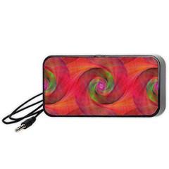 Red Spiral Swirl Pattern Seamless Portable Speaker (black)