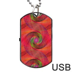 Red Spiral Swirl Pattern Seamless Dog Tag Usb Flash (two Sides)