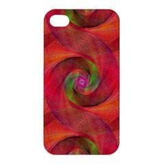 Red Spiral Swirl Pattern Seamless Apple Iphone 4/4s Premium Hardshell Case by Nexatart