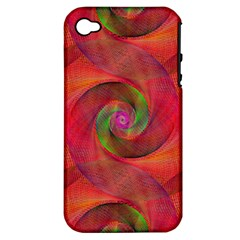 Red Spiral Swirl Pattern Seamless Apple Iphone 4/4s Hardshell Case (pc+silicone) by Nexatart